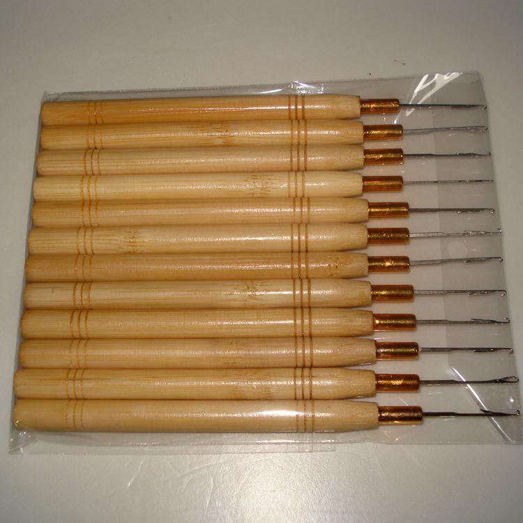 Крюк иглы микро кольцо наращивание волос деревянный вытягивая игла Threader перо крюк инструмент для наращивания волос