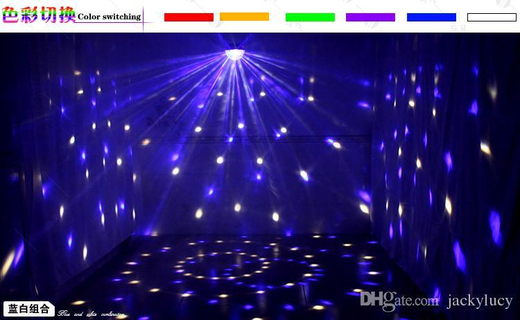 Голосовое управление LED Crystal Magic Ball Light 6 Изменение цвета лазерных эффектов Освещение сцены Диско огни для DJ Bar Праздничные атрибуты