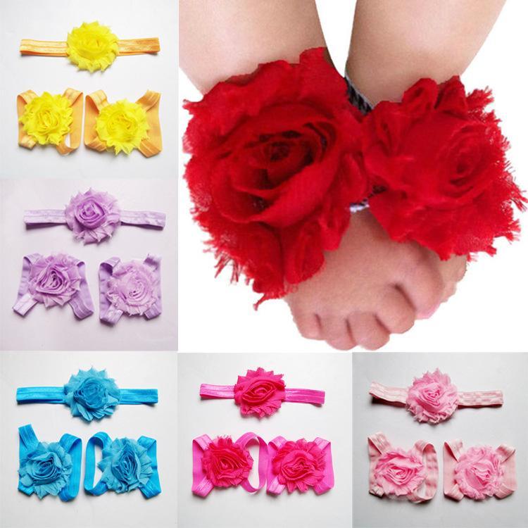 Toddler baby sandals chiffon flower cover barefoot foot +Headbands set infant children girl kids first walker shoes Photography props