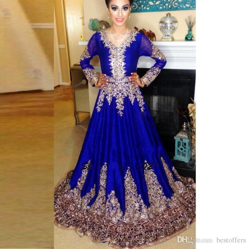 Middle East New Arrival Blue Arabic Evening Dresses V Neck Long Sleeves 2018 A Line Sweep Train Prom Party Gowns Custom Made BA4098