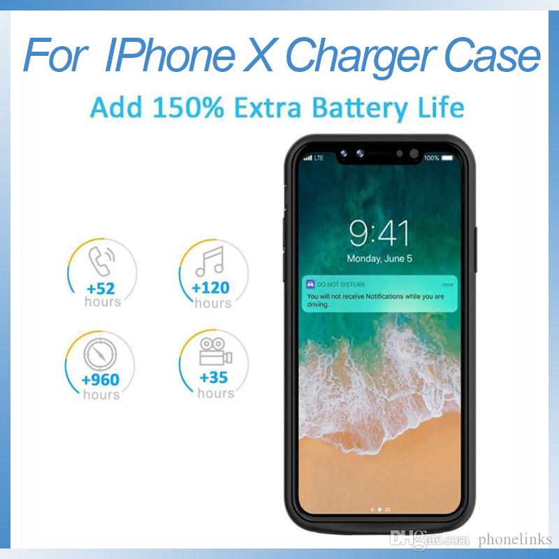 reputable site 12160 df494 For iphone X portable battery case 6000 mAh Power Bank charger case  rechargeable external charging case