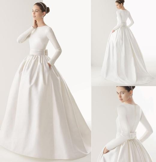 New Modest White Dress High Neck Long Sleeve Ball Gown Wedding Dresses Simple Covered Button Sweep Train Ribbon Bridal Gowns Online Womens