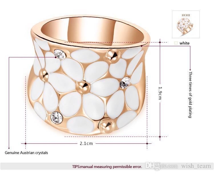 2016 Unique Design Austian Crystal White Flower Anillos Anillo de Compromiso de Boda de la boda 24 K Oro Rosa Lleno de Joyería de Moda A051