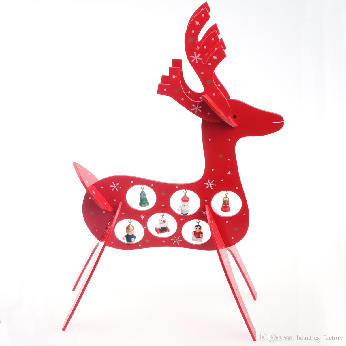 Wooden Red Christmas Deer Beautiful Wood Ornament Interesting ...
