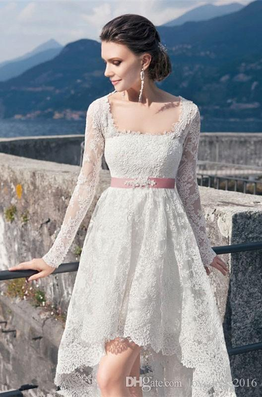 Modest High Low Lace Wedding Dresses Cheap 2018 Square Neck Long Sleeves Wedding Gowns With Ribbon