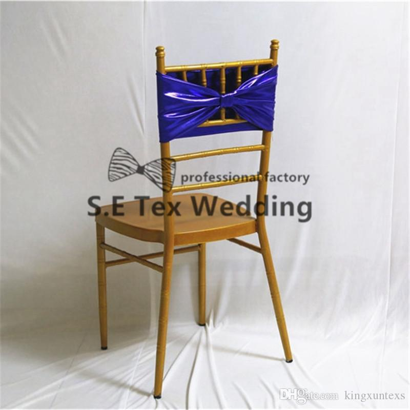 Double Layer Royal Blue Color Bronzing Coated Lycra Spandex Chair Band Chair Sash For Wedding Party Decoration