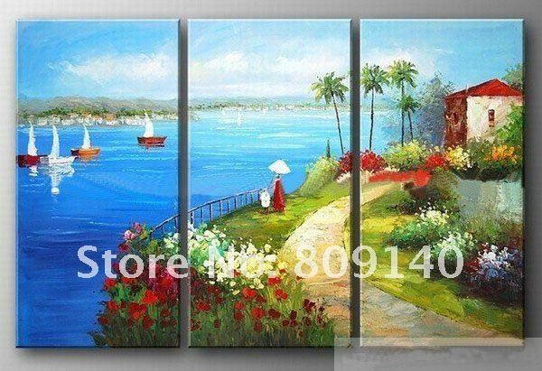 2018 Oil Painting Mediterranean Landscape Seascape Scenery Modern Artwork  Hand Painted Wall Art Decor Beautiful Home Office Hotel Decor Free Ship  From ...