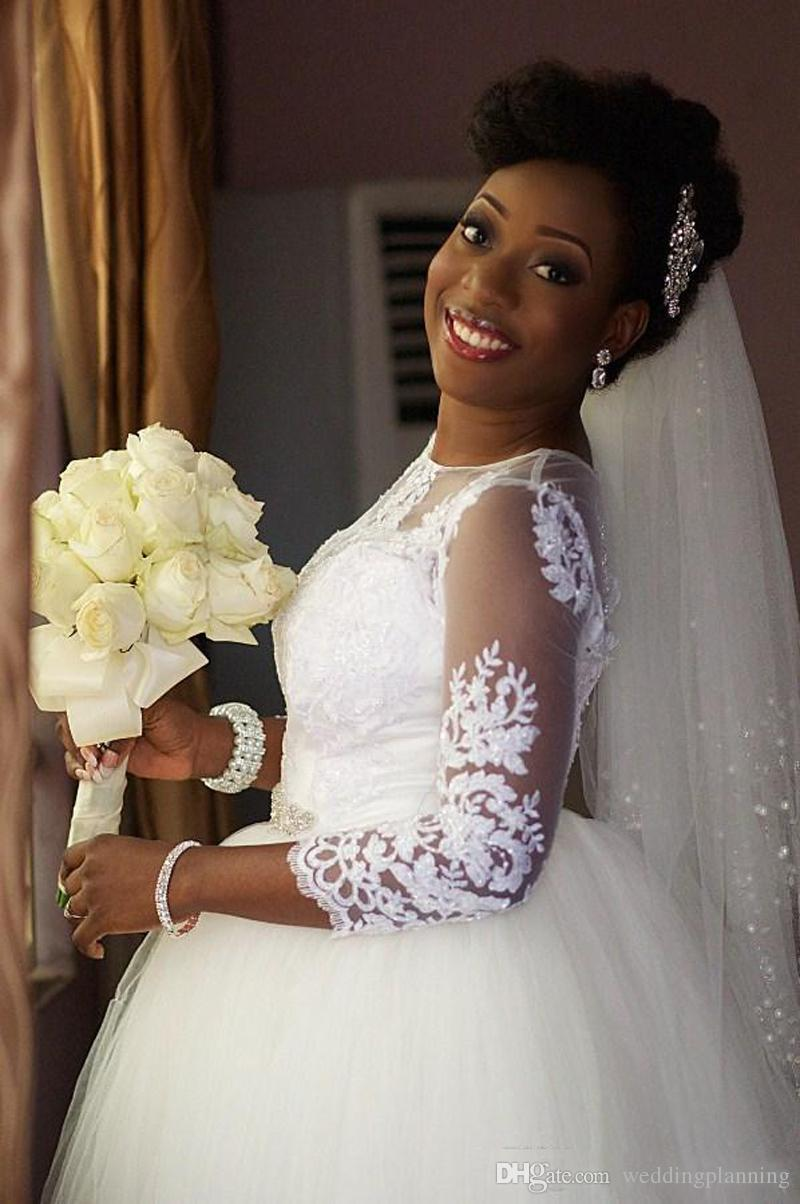 2018 outono inverno marfim branco vestidos de noiva pura pescoço mangas compridas lace apliques tule vestidos de noiva vintage vestido árabe africano