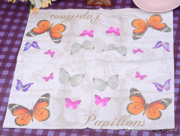 Decorativo Papel de Mariposa Servilleta Placemats Fiesta de Navidad 2 Capas Desechables MINI Pañuelo Servilletas En Venta SD914
