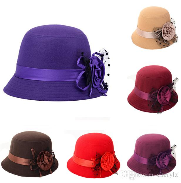 d756b6679ed 2019 Vintage Elegant Womens Ladies Bowler Hats Imitate Cashmere Wool Caps  With Flower Ornament Travel Casual Bucket Sun Cap Valentine Gift K1132 From  ...