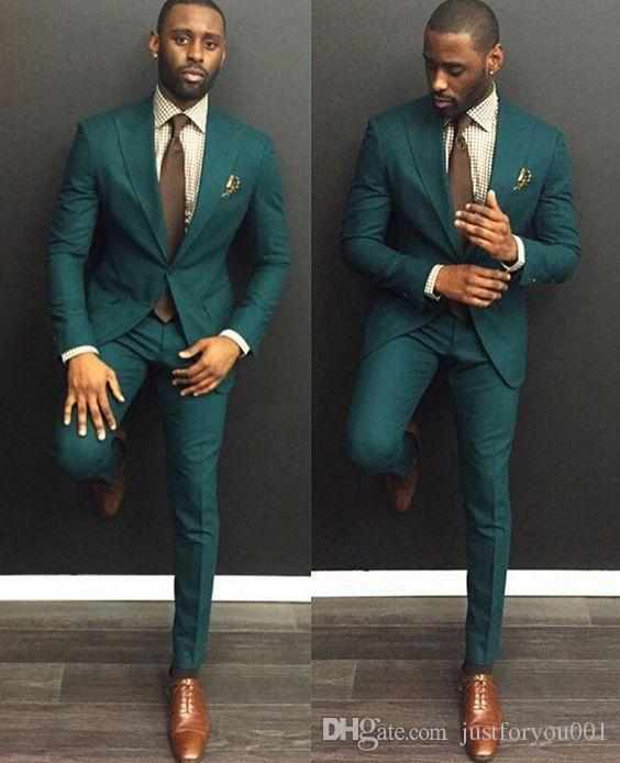 Men Dinner bespoke Party Prom Suit Mens Fashion 2018 custom make hunter emerald green wedding tuxedos groom slim suit (jacket+pant)