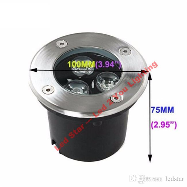 O RGB 9W conduziu a luz subterrânea 12V 3 * 3W conduziu a lâmpada exterior de Ingroud 600LM IP67 Waterproof a garantia 3 anos