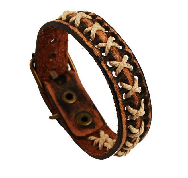 d3acf26e595f Vintage Cuerda de cuero para hombre Wrap Punky Pulsera Brazaletes Cinturón  de pulsera Hecho a mano H Vintage Pulsera de cuero genuino tribal Pulsera  de ...