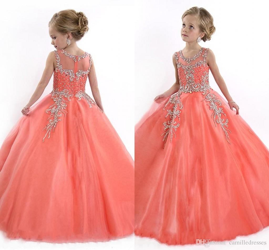 2016 new pink tulle flower girls dresses for party vintage special 2016 new pink tulle flower girls dresses for party vintage special occasion for kids ball gown formal beaded little girls gageant dresses baby flower girl dhlflorist Gallery