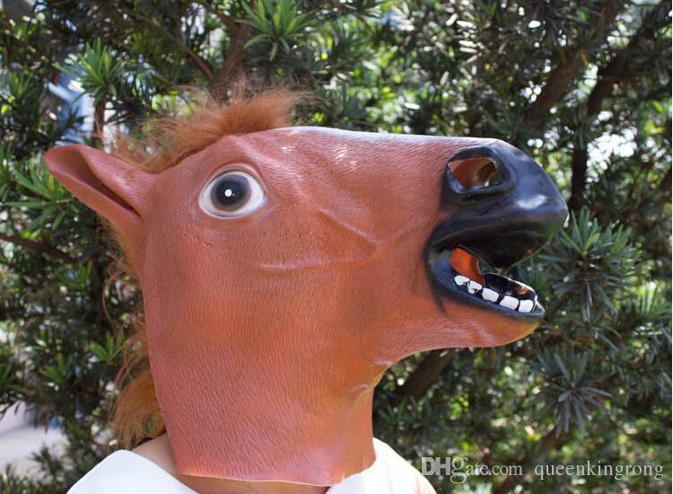 Cheval effrayant tête de masque Halloween Costume Théâtre Prop nouveauté Latex Caoutchouc Partie Masques partie animal de bande dessinée masque meilleur