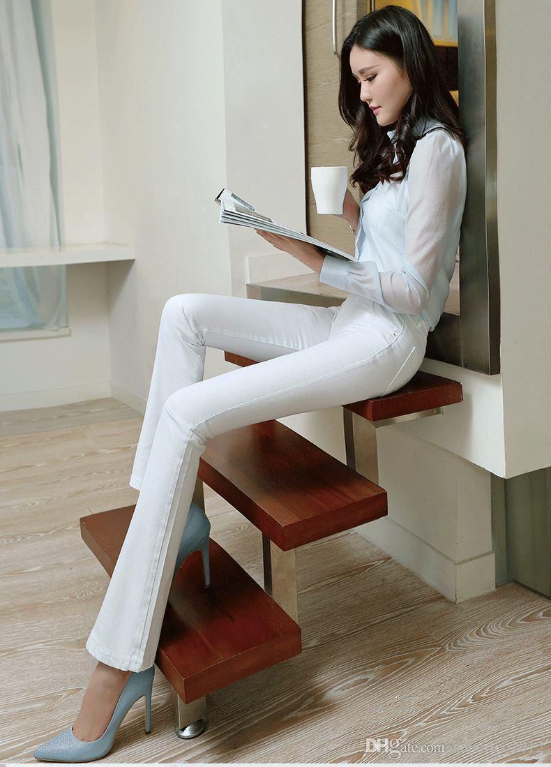 Nieuwe mode vrouw wit katoen denim broek rechte snij boot flare jeans voor vrouwen push-up skinny jeans lange jeans broek