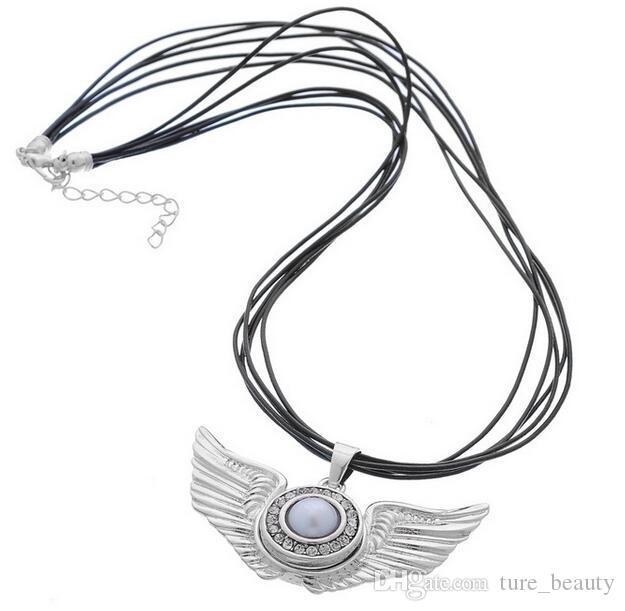 Noosa snap botão asas de anjo colares de couro pingente de 925 de prata banhado a platina diy 18mm pedaço botão snap jóias gengibre snaps /