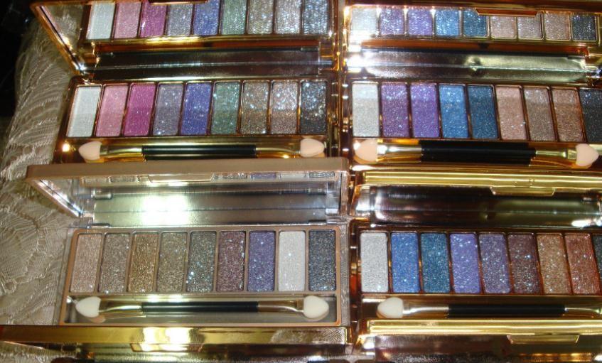 Dazzle Brilhante 9 Cores Sombra de Diamantes Sombra Paleta de Olhos Maquiagem Sootiness Cosméticos Jogo de Escova transporte da gota