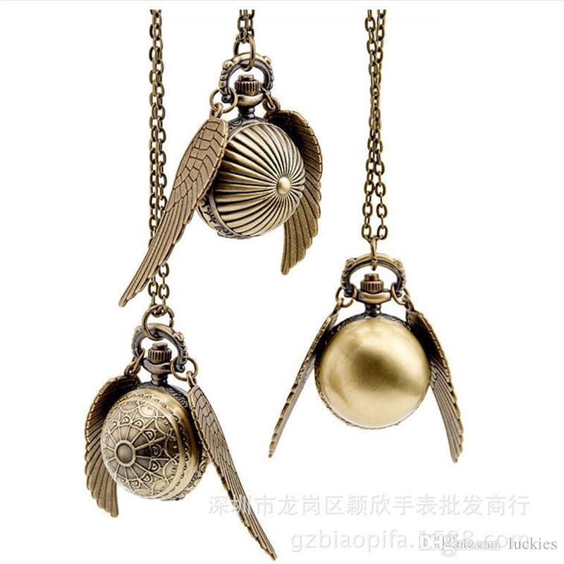 Harry bola de ouro relógio de bolso potter asas relógio de quartzo antigo relógio de bolso com corrente de colar clássico relógios de bolso