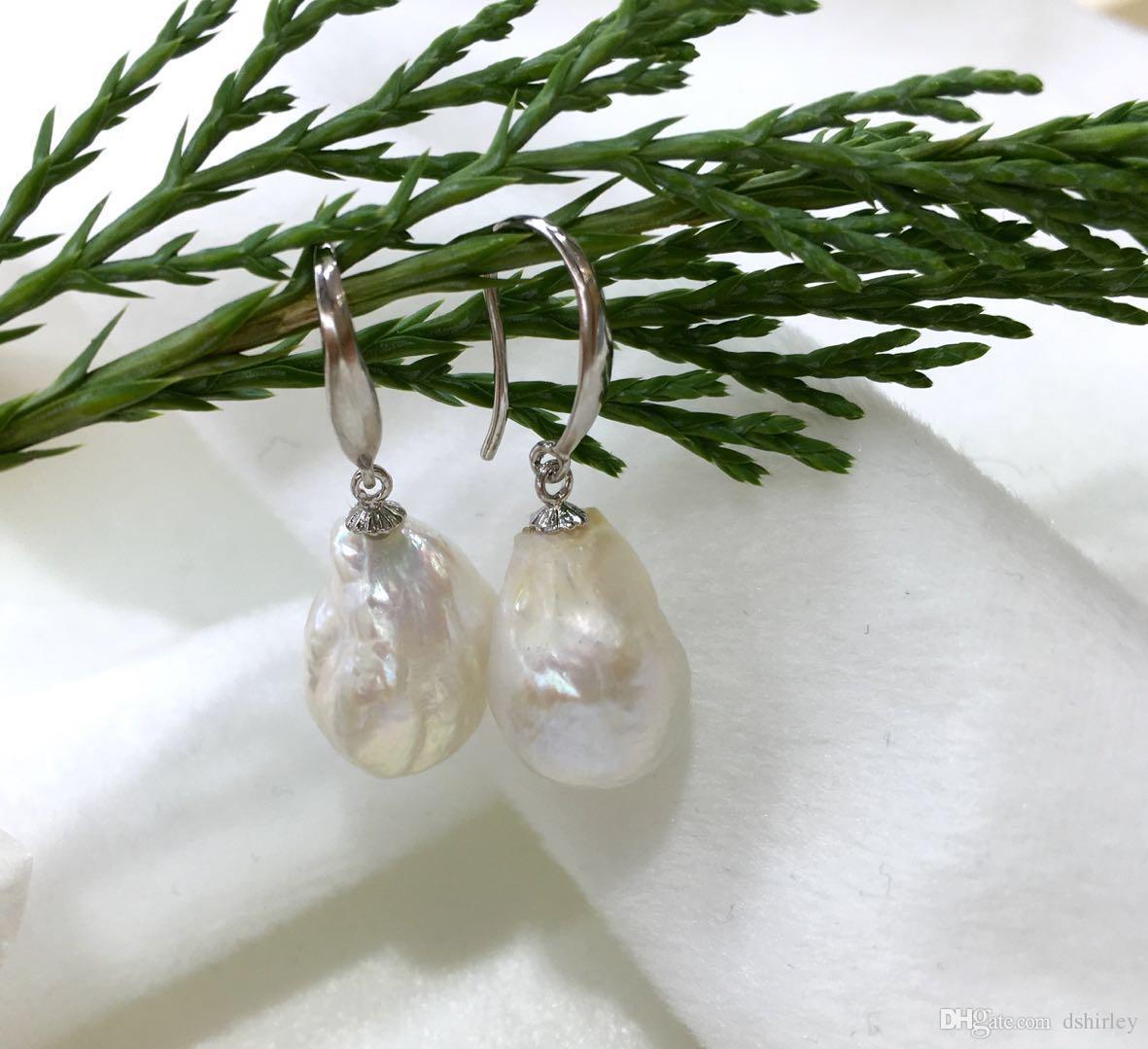 Белый барокко жемчужные серьги, 925 серебряные серьги, провисание серьги, самый специальный подарок, уникальный стиль