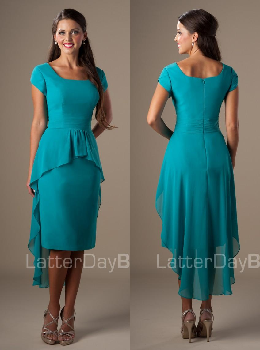 Turquoise sheath high low short modest church bridesmaids dresses turquoise sheath high low short modest church bridesmaids dresses with short sleeves ruching chiffon square knee length maids honor dress bridesmaid gown ombrellifo Choice Image