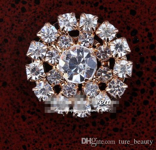 Скидка 5% 100 шт. / Лот 19 мм Отличное качество Handmade Sparkle Круглый Сплав Горный Хрусталь Цветочные Кнопки для Детских Волос