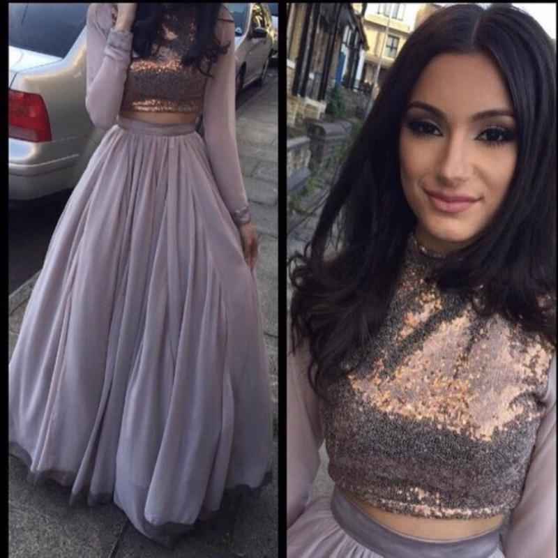 purple chiffon 2016 two pieces prom dresses with long sleeves
