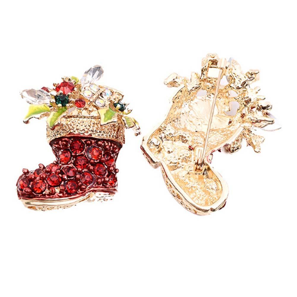 Moda Natal Sapatos Vermelhos Broches Para As Mulheres Do Vintage Botas Vermelhas Femininas Broches Pinos de Ouro Cor De Strass Jóias Presentes de Jóias
