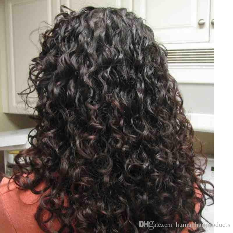 Peruvian Human Hair Full Lace Wigs Color 1b Deep Curly Glueless Virgin Hair Wigs FDshine HAIR