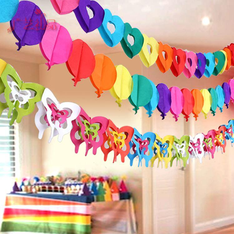 Colorful Paper Garlands Creative Cutting Arrangement Birthday
