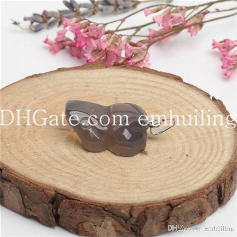 Smei Precious Carved Edelstein Frosch / Kröte Quarz Kristall Anhänger Perle von 12 Petite Tier Charme Naturstein Anhänger Großhandel, 16 * 20 * 7 MM