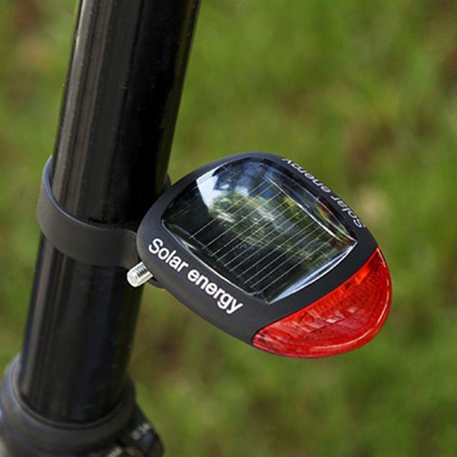 Kostenloser versand Sport MTB Radfahren Schwanz Hinten Rotes Licht Solar Power Fahrrad LED Lampe Sattelstütze Rücklicht mit Clamp Mode