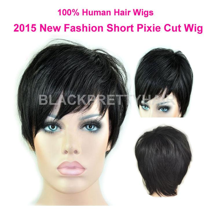 Rihanna Natural Black Short Cut Lace Front Wig Human Hair
