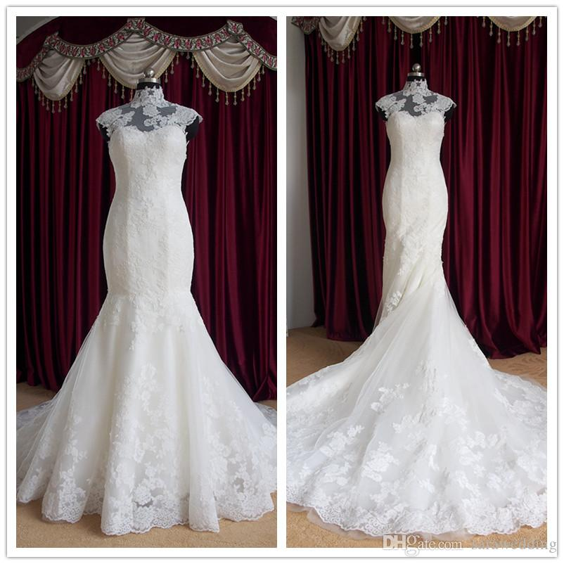 High Neck Lace Tulle Mermaid Wedding Dress With Appliques 2016 Court Train Bridal Gowns Custom Made