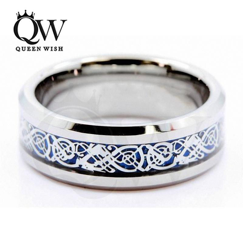 Mens anelli celtici 6mm / 8mm fasce in carburo di tungsteno sfondo blu argento celtico drago intarsio con sfondo blu gioielli di moda