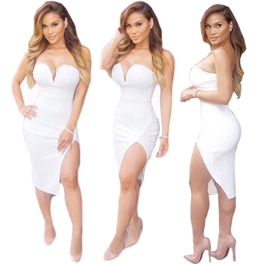 2016 Sexy Club Dress White Strapless High Side Spilt Knee Length ...