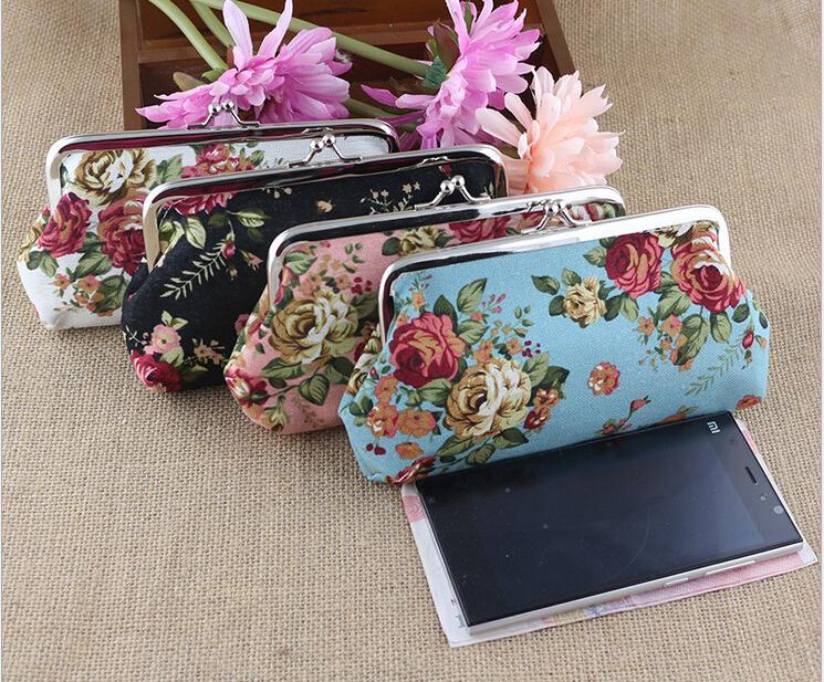Vintage Rose Geldbörse lange 6 Zoll Leinwand Floral Wallet Snap Verschluss Brieftasche Schlüsselhalter Tasche Haspe Clutch Handtasche Geld Tasche Geschenk