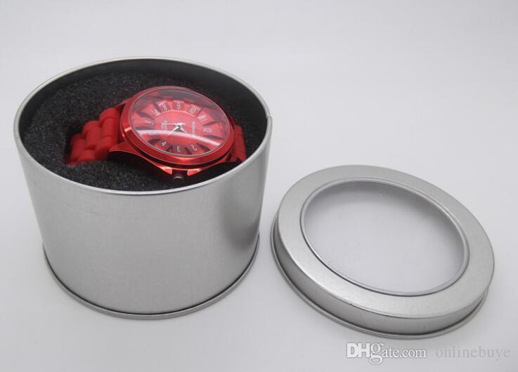 10 sztuk Stylowy Aluminiowy Zegarek Skrzynki Skrzynki Metal Kobiet Męska Pudełko Biżuteria Wyświetlacz Case Storage Watches