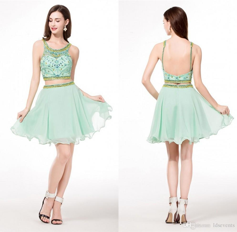 Mint Green Homecoming Dress Short Chiffon Crystals A Line Two Piece ...