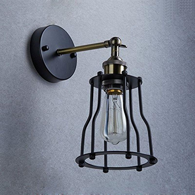 Промышленный Эдисон Урожай Настенный светильник Лампа 1 Свет провода Клетка Shade Рекомендуемые Лампа для спальни прихожей кофе бар WA099