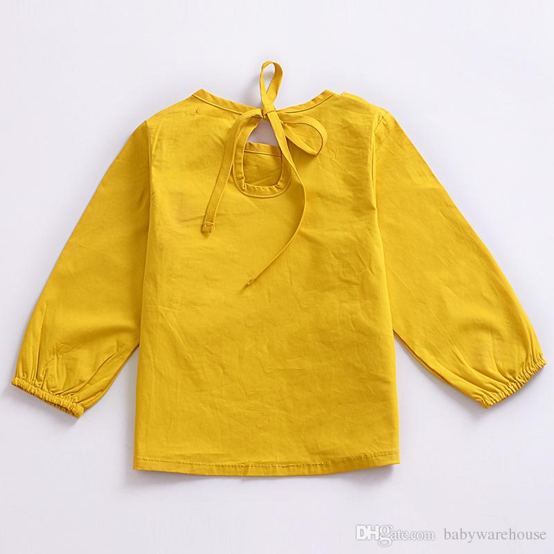 Babykleidung T-shirts 2018 Frühling Herbst Rüschen Langarm Blusen Tees Kleinkind Mädchen Tops Feste Niedliche Baby Kinder Kleidung Outfits
