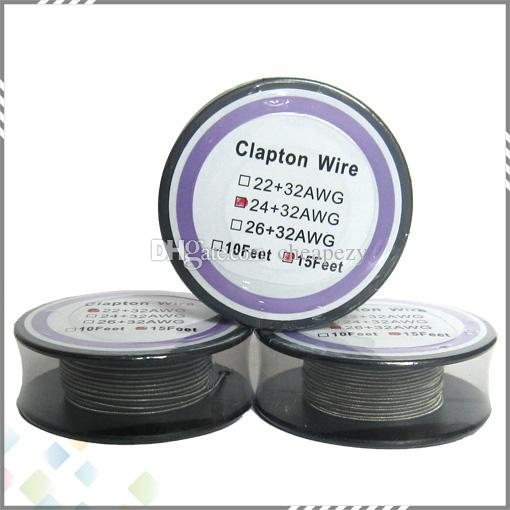 15 piedi Clapton Wire sigaretta elettrica Big Vapor Low ohm atomizzatore bobina 22 + 32 24 + 32 26 + 32 AWG Fast Heating DHL Free