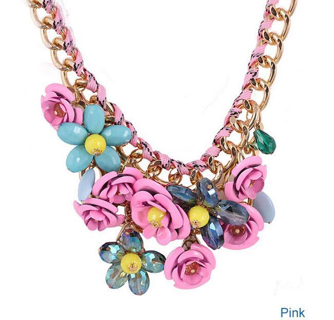 Bohème Nouvelle Déclaration Colliers Pour Femmes Grand Rose Fleur Grand Cristal Autrichien Flase Collier Chunky Collier Livraison Gratuite