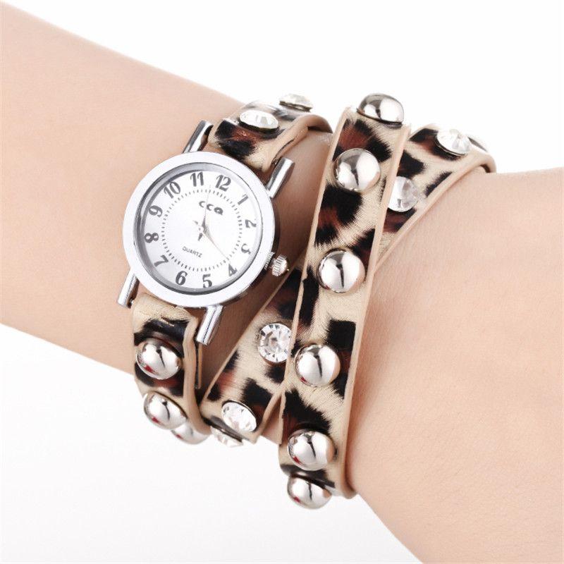 Fashion Cheap Wrap Leopard Strap Women Leather Wrist Watch Weave Bracelet Quartz Movement Lady Round Dial Charming Drop