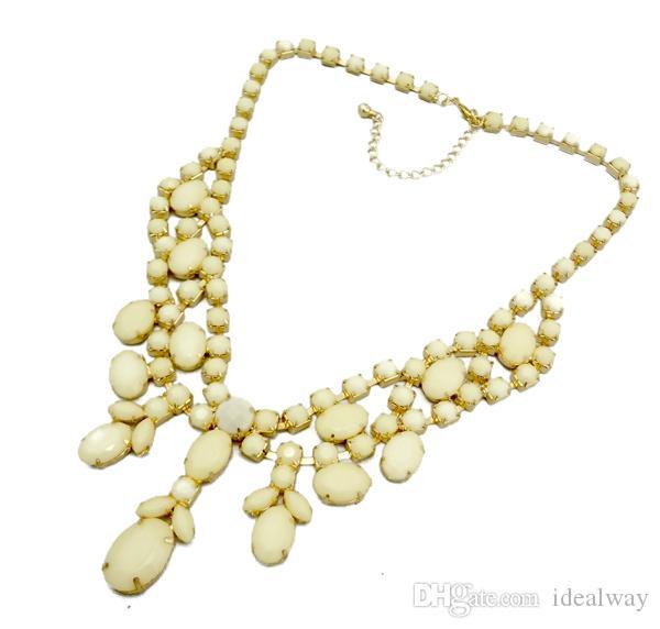 Neue Mode Gold Metall Harz Edelstein Charming Choker Bib Halskette 8 farben frauen schmuck