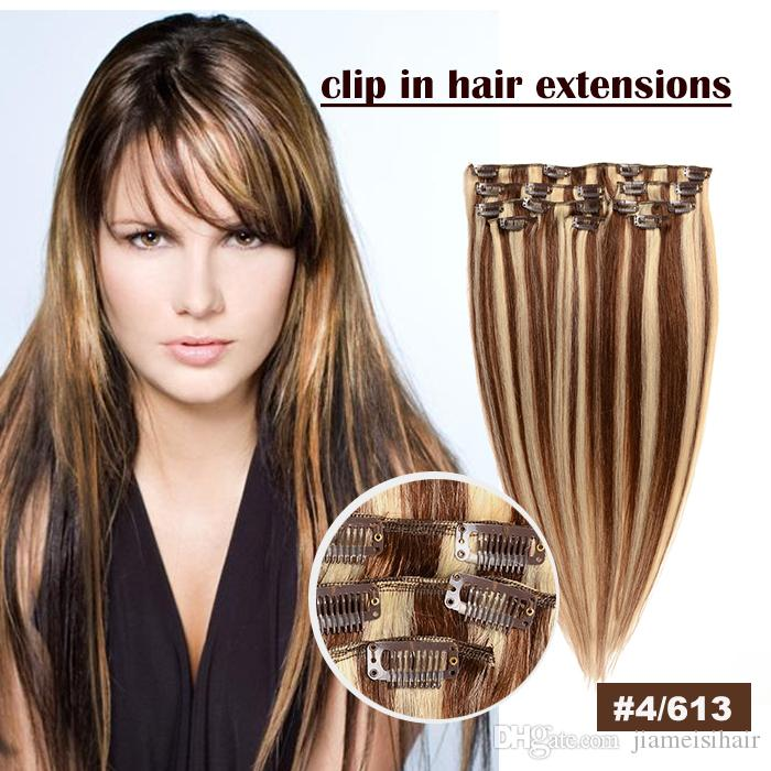Clip in human hair extention 8a color 4613 100 natural human clip in human hair extention 8a color 4613 100 natural human hair extensions 14 26inch brazilian clip in hair big promotion clips extensions 24 inch hair pmusecretfo Images