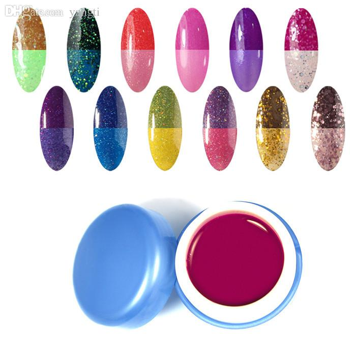 bcf3f8c290 Wholesale-12 pcs/lot Gel Color Temperature Change Nail Color UV Gel polish  6ml/pcs wholesale 12pcs Nail Gel for Nail Art DIY Big promotion