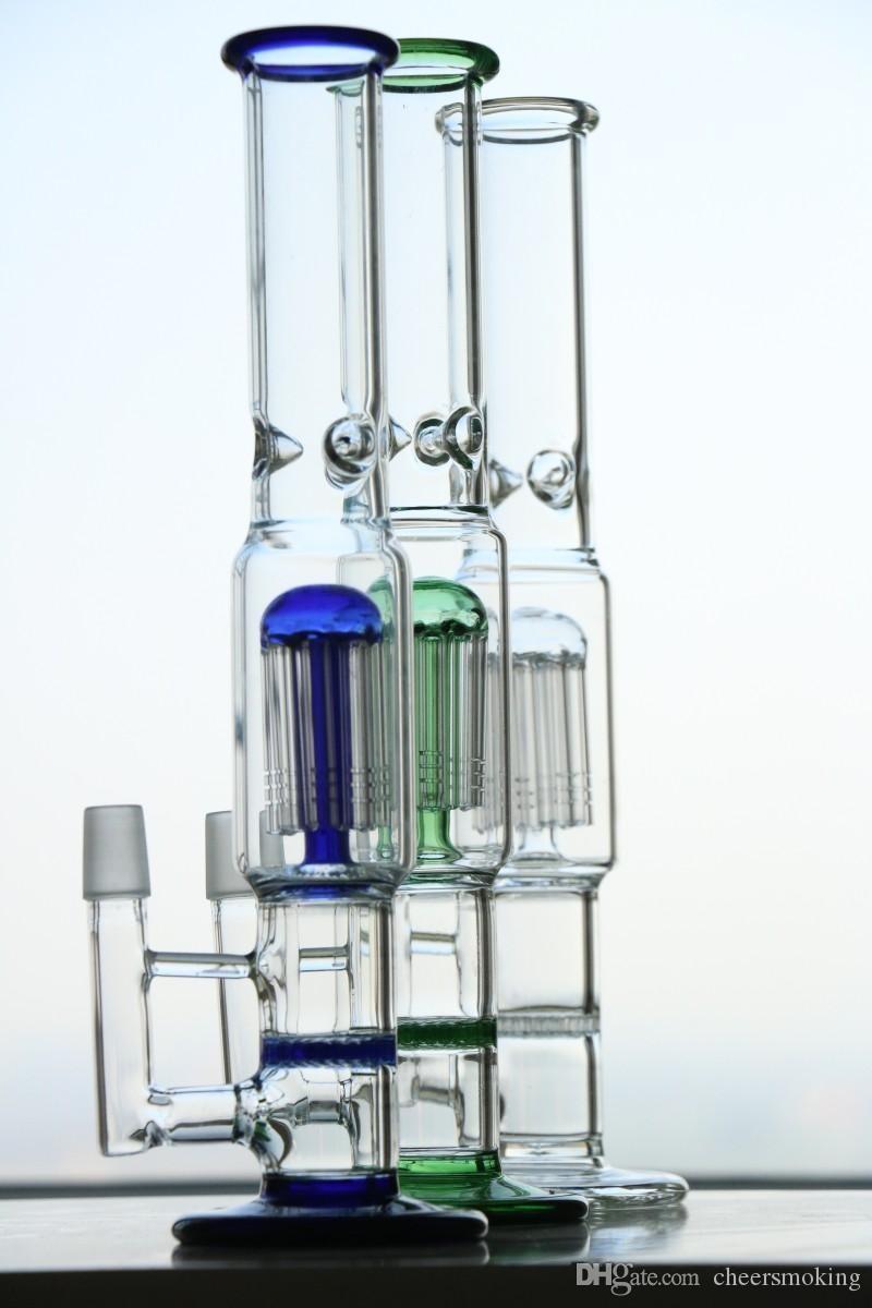 2020 Two Function Hookahs Oil Rigs Handblown Bongs Water Pipes Bubbler Oils Rigs Glass Bongs 34.5cm Glass Water Bong