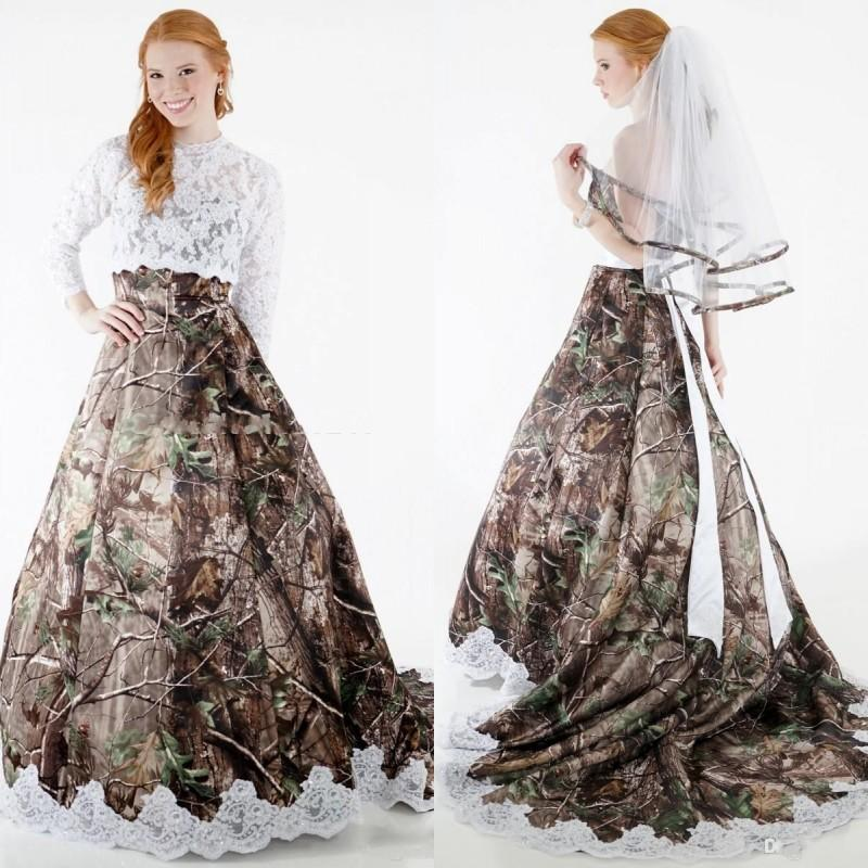 Discount 2017 Modest Camo Wedding Dresses With Detachable Wrap Long ...