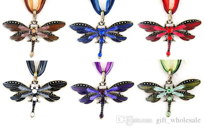 Brand New Hot Gold Silver Dragonfly Pendant Crystal Necklace Jewelry For chose Factory Price